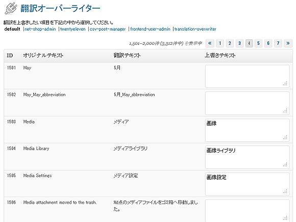 翻訳オーバーライタープラグインの設定画面